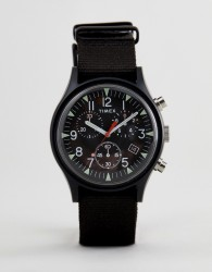 Timex TW2R67700 Expedition Chronograph Canvas Watch In Black - Black