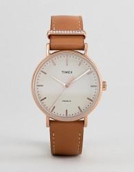 Timex TW2R70200 Fairfield Leather Watch In Tan - Tan