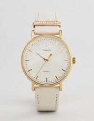 Timex TW2R70500 Fairfield Leather Watch In White - White