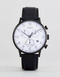 Timex TW2R72300 Waterbury Classic Chronograph Leather Watch In Black - Black