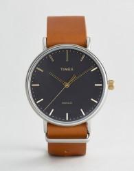 Timex Weekender Fairfield 41mm Leather Watch In Brown - Brown