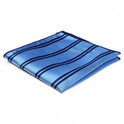 TND Basics Lyseblå Silkelommeklud med Marineblå Dobbeltstriber