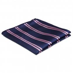 TND Basics Marineblå Silkelommeklud med Lyserøde Dobbeltstriber