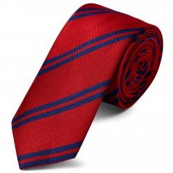 TND Basics Rødt 6 cm Silkeslips med Marineblå Dobbeltstriber