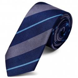 TND Basics Silkeslips 6 cm med Grå og Blå Striber