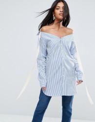 To Be Adored Josie Boyfriend Striped Shirt - Blue