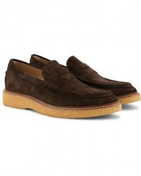 Tod's Crepe Sole Moccasino Loafer Dark Brown Suede