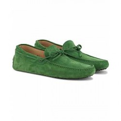 Tod's Laccetto Gommini Carshoe Green Suede