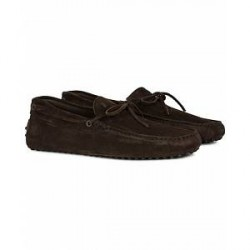 Tod's Laccetto Gommino Carshoe Dark Brown Suede