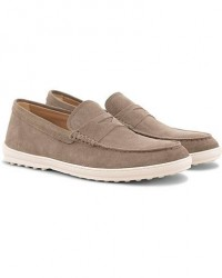 Tod's Moccassino Gomma Pennyloafer Taupe Suede men UK8 - EU42