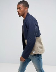 Tom Tailor Bomber Jacket With Open Hem And Colour Panel Detail - Navy