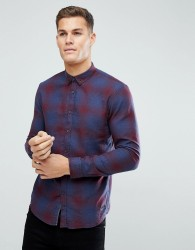 Tom Tailor Check Shirt In Navy & Burgundy - Red