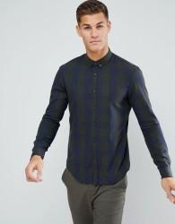 Tom Tailor Check Shirt In Navy & Khaki - Green