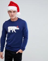 Tom Tailor Christmas Jumper With Polar Bear - Navy