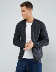 Tom Tailor Chunky Knitted Bomber Jacket - Grey