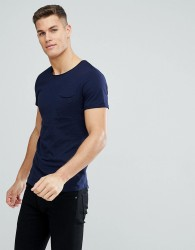 Tom Tailor Crew Neck T-Shirt with Raw Edge In Navy - Navy