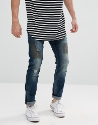Tom Tailor Jeans In Slim Fit With Patchwork - Blue