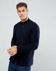 Tom Tailor Jersey Shirt with Grandad Collar In Navy - Navy