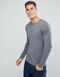 Tom Tailor Jumper With Blue Stripe - Grey