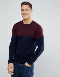 Tom Tailor Jumper With Burgundy Colour Block - Red