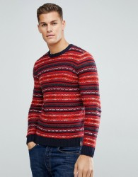 Tom Tailor Jumper With Red Fairisle - Red