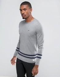 Tom Tailor Knitted Jumper With Hem Stripes - Grey