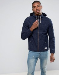 Tom Tailor Light Weight Hooded Jacket In Flecked Cotton - Navy