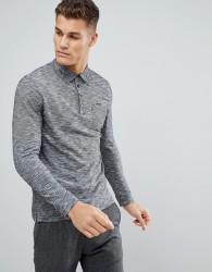Tom Tailor Long Sleeve Polo In Twisted Yarn - Black