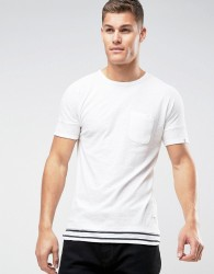 Tom Tailor Longline T-Shirt With Stripe Layer Hem - White