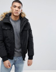Tom Tailor Padded Jacket With Faux Fur Hood - Black