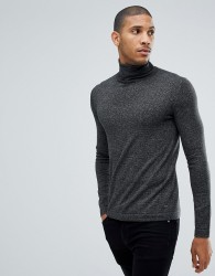 Tom Tailor Polo Neck Jumper In Charcoal - Black