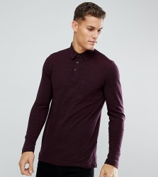Tom Tailor Polo With Long Sleeves In Burgundy - Red