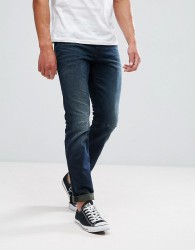 Tom Tailor Regular Fit Jeans In Dark Wash With Abrasions - Blue