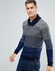 Tom Tailor Shawl Collar Jumper With Faded Knit - Blue