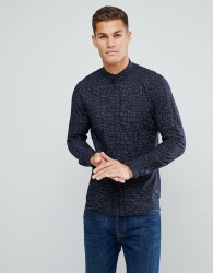 Tom Tailor Shirt With Line Print In Navy - Black