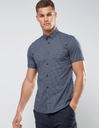Tom Tailor Short Sleeve Slim Fit Shirt With All Over Print - Navy