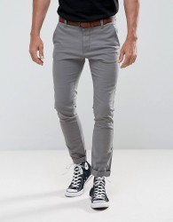 Tom Tailor Skinny Chino With Belt - Grey