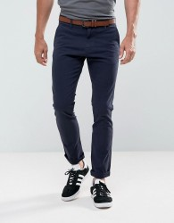 Tom Tailor Skinny Chino With Belt - Navy