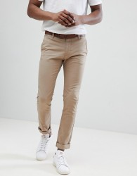 Tom Tailor Slim Chino In Beige With Belt - Grey