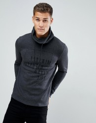 Tom Tailor Sweat With Funnel Neck In Charcoal With Black Print - Grey