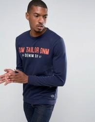 Tom Tailor Sweatshirt With Brand Graphic - Navy
