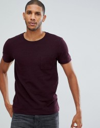 Tom Tailor T-Shirt In Burgundy Pique With Pocket - Red