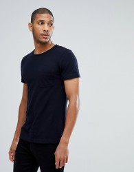 Tom Tailor T-Shirt In Navy Pique With Pocket - Navy