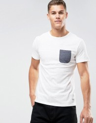 Tom Tailor T-Shirt With Block Panel And Pocket - White