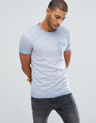 Tom Tailor T-Shirt With Blue Pigment Dye Wash - Blue