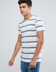 Tom Tailor T-Shirt With Blue Stripe - White