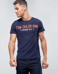 Tom Tailor T-Shirt With Brand Print - Blue
