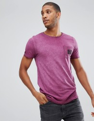 Tom Tailor T-Shirt With Burgundy Pigment Dye Wash - Red