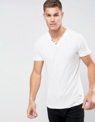 Tom Tailor T-Shirt With Split Henley Neck - White