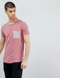 Tom Tailor T-Shirt With Stripe Pocket In Pink - Pink